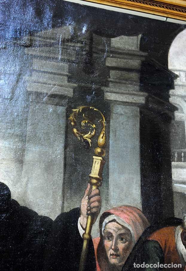 Arte: ÓLEO SOBRE LIENZO SANTO TOMÁS DE VILLANUEVA REPARTIENDO LIMOSNAS - Foto 6 - 176722375