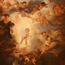 Arte: JOSE DABRIO PEREZ (1900-1973) OLEO SOBRE TELA. SAN ANTONIO SEGUN MURILLO. Lote 176736639