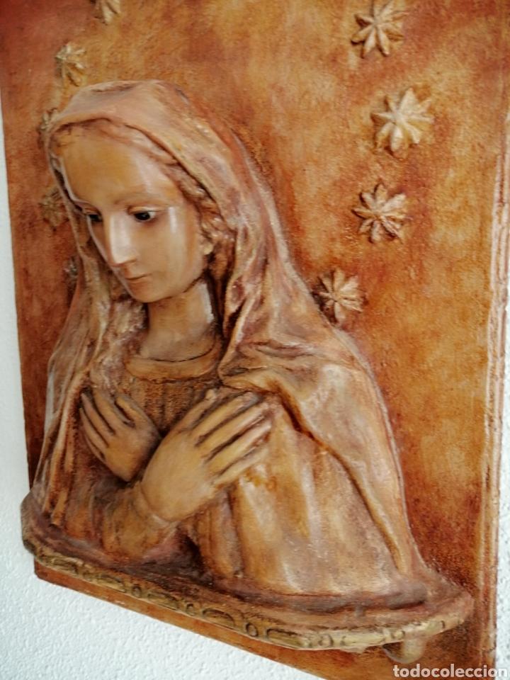 Arte: Antiguo Retablo Virgen de Madera. - Foto 2 - 176760908