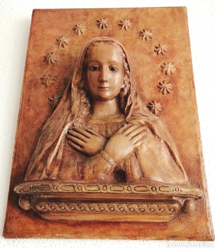 Arte: Antiguo Retablo Virgen de Madera. - Foto 3 - 176760908