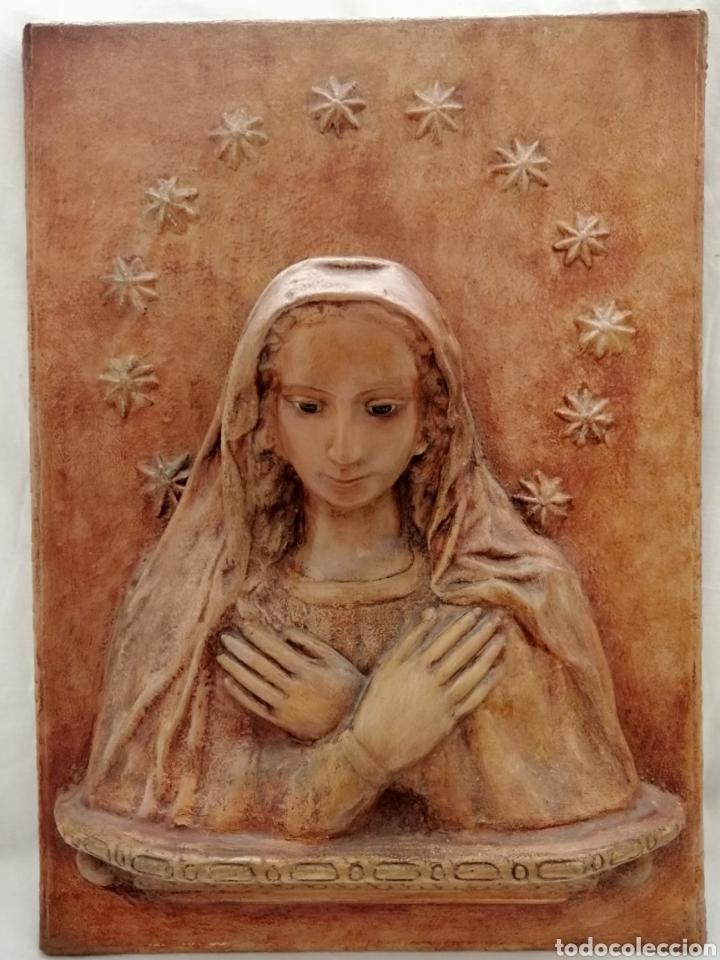 Arte: Antiguo Retablo Virgen de Madera. - Foto 5 - 176760908