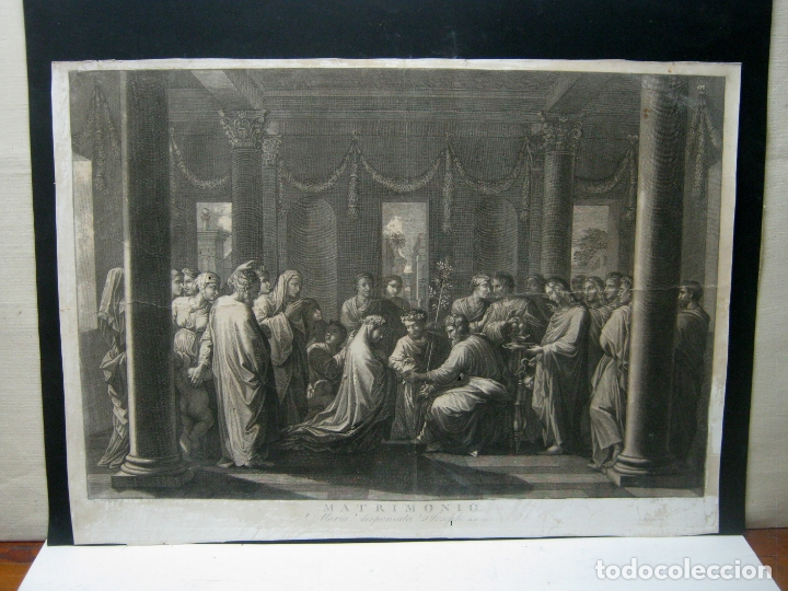 60 CM - IMPRESIONANTE GRABADO FLORENTINO - MATRIMONIO ENTRE MARIA Y JOSE- C. S.XVII (Arte - Arte Religioso - Grabados)