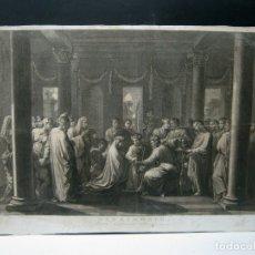 Arte: 60 CM - IMPRESIONANTE GRABADO FLORENTINO - MATRIMONIO ENTRE MARIA Y JOSE- C. S.XVII. Lote 176761287