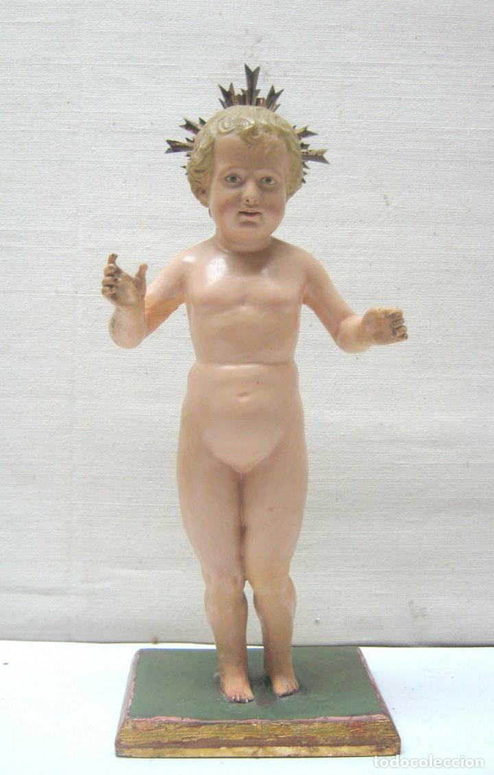 Arte: c.1800 - Niño Jesus talla terracota - magnifica ejecucion - potencias de plata - Foto 6 - 176763768