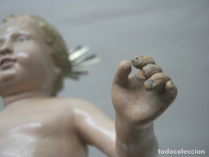 Arte: c.1800 - Niño Jesus talla terracota - magnifica ejecucion - potencias de plata - Foto 8 - 176763768