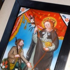Arte: ST. ROSALIA Y EL CAZAD CM 18 X 13 PINTURA RELIGIOSA OLEO BAJO CRISTAL SICILY 800 ' (REPRODUCCIÓN). Lote 176784460
