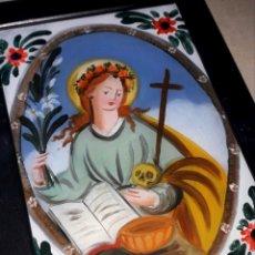 Arte: ST ROSALIA CM 18 X 13 PINTURA RELIGIOSA OLEO BAJO CRISTAL SICILY 800 ' (REPRODUCCIÓN). Lote 176785144