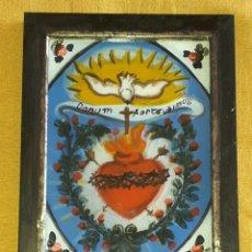Arte: CORAZÓN SAGRADO CM 18 X 13 PINTURA RELIGIOSA OLEO BAJO CRISTAL SICILY 800 ' (REPRODUCCIÓN). Lote 176785393