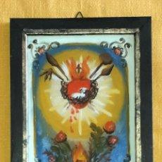 Arte: CORAZÓN SAGRADO CM 18 X 13 PINTURA RELIGIOSA OLEO BAJO CRISTAL SICILY 800 ' (REPRODUCCIÓN). Lote 176785724