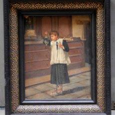 Arte: MONAGUILLO, PINTURA AL ÓLEO SOBRE TELA, FINALES S. XIX, FIRMA ILEGIBLE, CON MARCO. 40X32CM. Lote 176802848