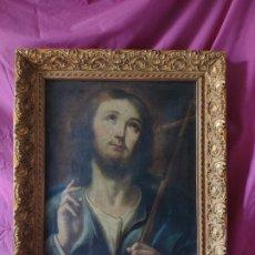 Arte: ÓLEO SOBRE LIENZO, CRISTO SALVADOR, JOAQUIN CAMPOS, EN 1.975, 1000-082. Lote 176834932