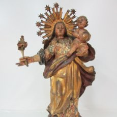 Arte: VIRGEN DE LA ROSA (DEL ROSER) - MADERA TALLADA Y POLICROMADA - S. XVIII. Lote 176846997