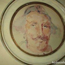 Arte: ANTIGUA ACUARELA RETRATO DE CABALLERTO MARCO DE MADERA. Lote 176857354