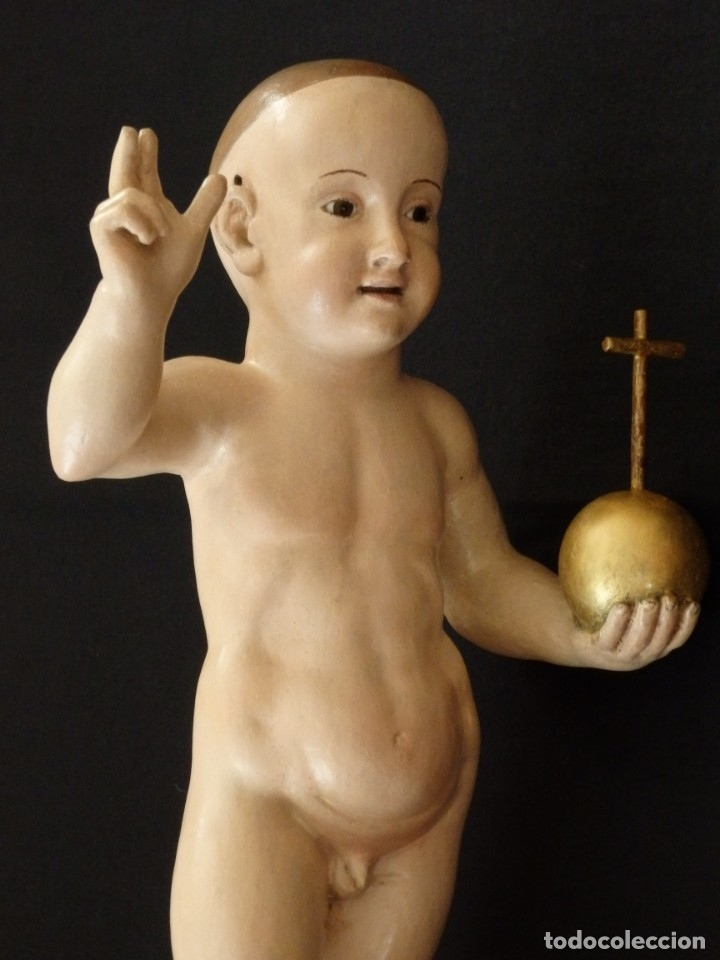 NIÑO JESÚS PASIONARIO EN MADERA TALLADA Y POLICROMADA DE LA ESC. ESPAÑOLA. MIDE 57 CM. SIGLO XVIII. (Arte - Arte Religioso - Escultura)