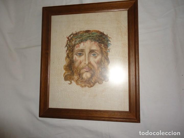 Arte: Cuadro, Santa Faz de Jesucristo, sobre lino o seda. - Foto 2 - 177007560