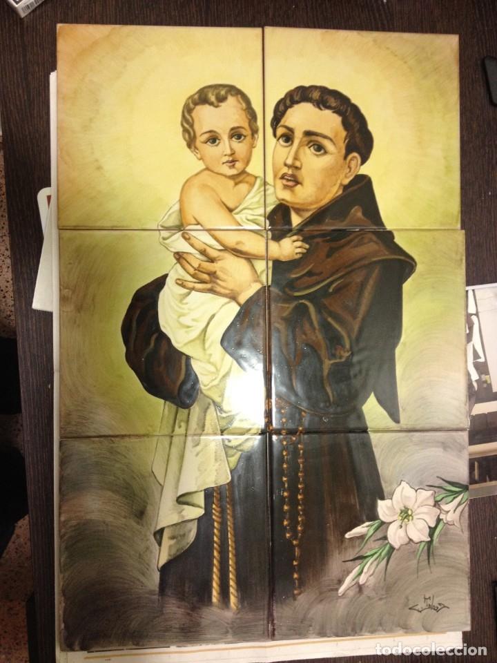 RETABLO CERAMICO SAN ANTONIO DE PADUA O DE LISBOA. PINTADO A MANO POR ENCARGO MEDIDAS: 60 X 40 CM. (Arte - Arte Religioso - Retablos)