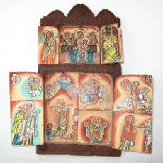 Arte: VER DETALLES! RETABLO AL OLEO EN MADERA TALLADA PINTURAS AL OLEO SAN JORGE O JORDI. Lote 177038247