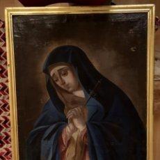 Arte: ANTIGUO ÓLEO SOBRE LIENZO DE VIRGEN DOLOROSA CON PUÑAL, PIEDAD.MARCO ORO FINO. SIGLO XVIII. 90X68. Lote 141931553