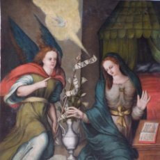 Arte: LA ANUNCIACIÓN. ÓLEO SOBRE TABLA. ESCUELA ESPAÑOLA, SIGLOS XVI-XVII. MIDE 68 X 56 CM.. Lote 177077817