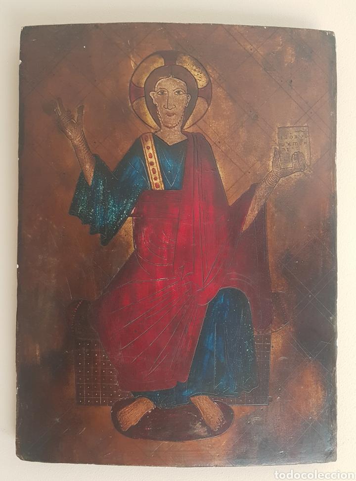 Arte: Pantocrator (XIX-XX) - Gran Retablo Anonimo.Temple/tabla. - Foto 2 - 176648550