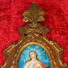 Arte: MARÍA MAGDALENA. PINTURA SOBRE CRISTAL. MARCO DORADO ORIGINAL. ESPAÑA. XVIII-XIX. Lote 177118230