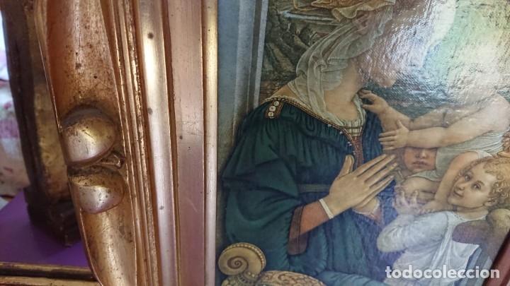 Arte: ANTIGUA IMPRESION SOBRE LIENZO MADONNA CON EL BAMBINO E ANGELI POR EL MUSEE DE L OFFIVE FLORENCE - Foto 7 - 177132292
