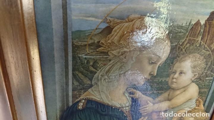 Arte: ANTIGUA IMPRESION SOBRE LIENZO MADONNA CON EL BAMBINO E ANGELI POR EL MUSEE DE L OFFIVE FLORENCE - Foto 8 - 177132292