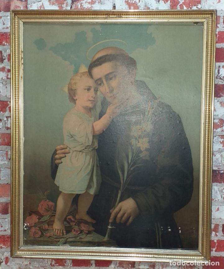LITOGRAFIA SAN ANTONIO SIGLO XIX (Arte - Arte Religioso - Litografías)