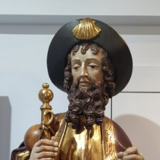 Arte: IRREPETIBLE SANTIAGO PEREGRINO. TALLA DE MADERA RELIGIOSA. MADERA POLICROMADA.. Lote 177195058