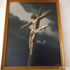 Arte: PINTURA OLEO CRISTO CRUCIFICADO - ENRIQUE NAVARRO 1966. Lote 177202344