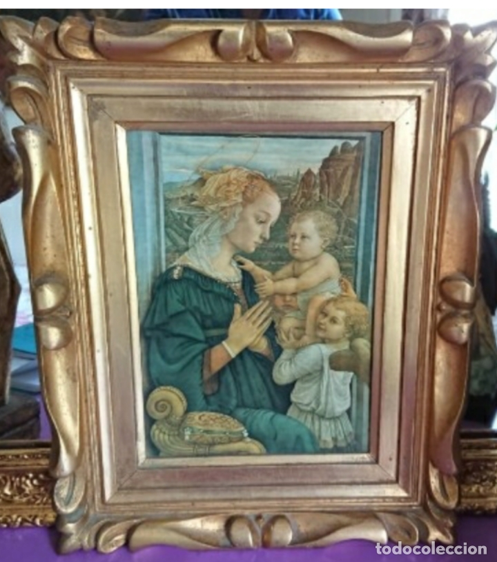 ANTIGUA IMPRESION SOBRE LIENZO MADONNA CON EL BAMBINO E ANGELI POR EL MUSEE DE L OFFIVE FLORENCE (Arte - Arte Religioso - Pintura Religiosa - Otros)