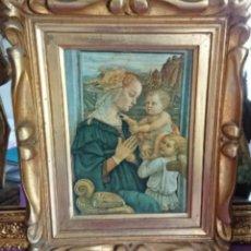 Arte: ANTIGUA IMPRESION SOBRE LIENZO MADONNA CON EL BAMBINO E ANGELI POR EL MUSEE DE L OFFIVE FLORENCE. Lote 177132292