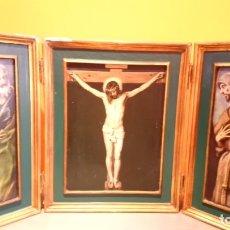 Art: MUY ANTIGUO TRIPICO IMÁGENES RELIGIOSAS (VER FOTOS) SALIDA 1€. Lote 177294615
