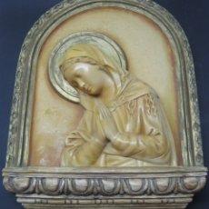Arte: 48 CM - GRAN RETABLO PARA HORNACINA - VIRGEN MARIA - ESTUCO - OLOT AÑOS 30. Lote 177315978