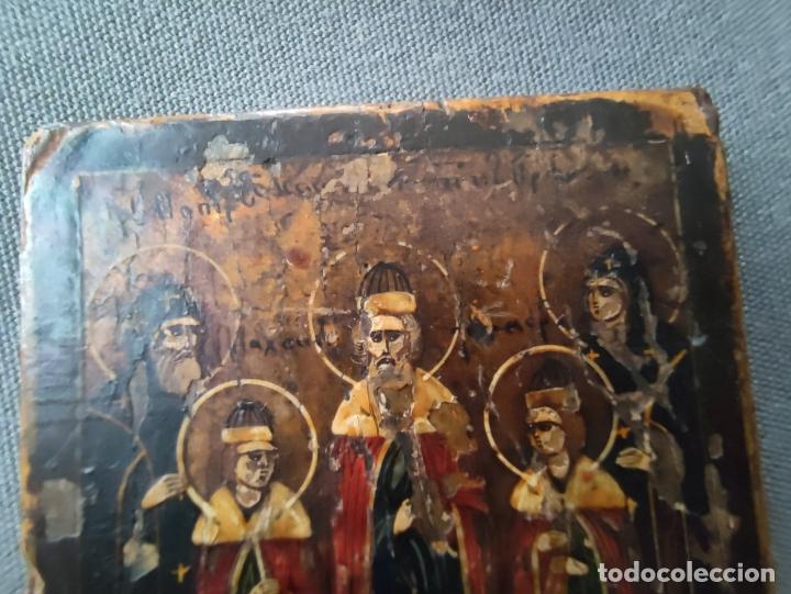 Arte: ICONO MINIATURA PINTADO DEL S. XVIII EN CABALLETE DE PLATA , ICONE RUSSE MINIATURE BYZANTINE - Foto 3 - 177382880