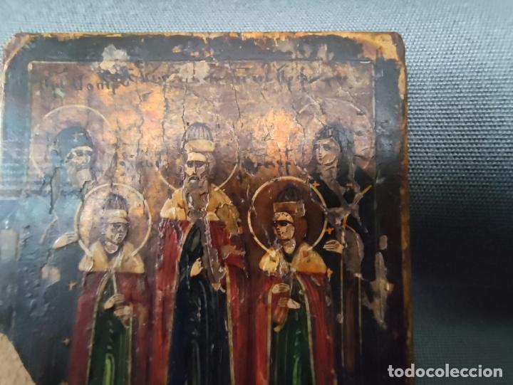 Arte: ICONO MINIATURA PINTADO DEL S. XVIII EN CABALLETE DE PLATA , ICONE RUSSE MINIATURE BYZANTINE - Foto 4 - 177382880