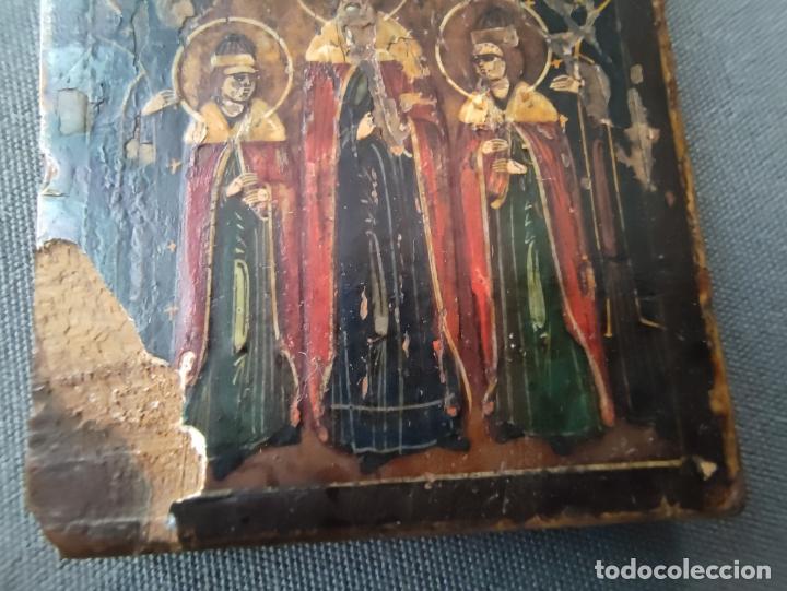 Arte: ICONO MINIATURA PINTADO DEL S. XVIII EN CABALLETE DE PLATA , ICONE RUSSE MINIATURE BYZANTINE - Foto 7 - 177382880