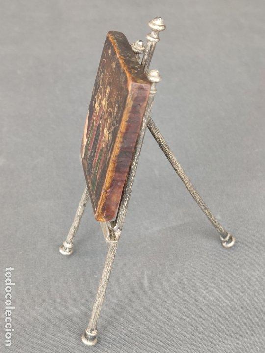 Arte: ICONO MINIATURA PINTADO DEL S. XVIII EN CABALLETE DE PLATA , ICONE RUSSE MINIATURE BYZANTINE - Foto 10 - 177382880