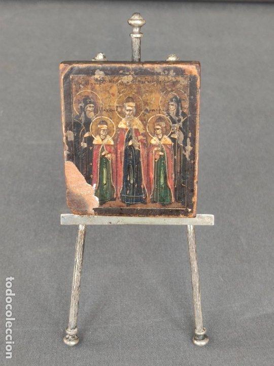 ICONO MINIATURA PINTADO DEL S. XVIII EN CABALLETE DE PLATA , ICONE RUSSE MINIATURE BYZANTINE (Arte - Arte Religioso - Pintura Religiosa - Oleo)
