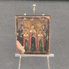 Arte: ICONO MINIATURA PINTADO DEL S. XVIII EN CABALLETE DE PLATA , ICONE RUSSE MINIATURE BYZANTINE . Lote 177382880