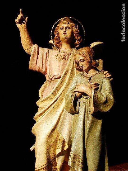 Arte: PIADOSO SANTO ANGEL CUSTODIO CON INFANTE PASTA DE MADERA POLICROMADA - Foto 2 - 177456737