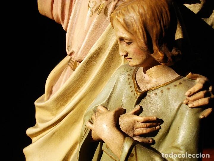 Arte: PIADOSO SANTO ANGEL CUSTODIO CON INFANTE PASTA DE MADERA POLICROMADA - Foto 11 - 177456737