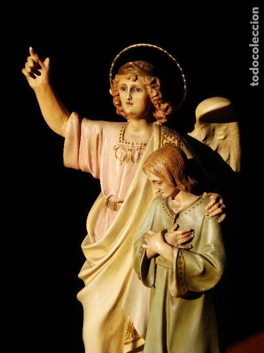 Arte: PIADOSO SANTO ANGEL CUSTODIO CON INFANTE PASTA DE MADERA POLICROMADA - Foto 14 - 177456737