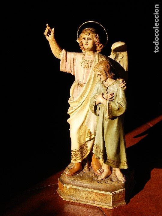 Arte: PIADOSO SANTO ANGEL CUSTODIO CON INFANTE PASTA DE MADERA POLICROMADA - Foto 15 - 177456737