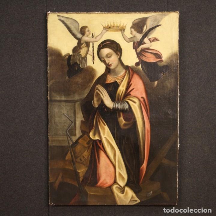 Arte: Pintura religiosa italiana antigua Santa Catalina del siglo XVIII - Foto 2 - 177484392