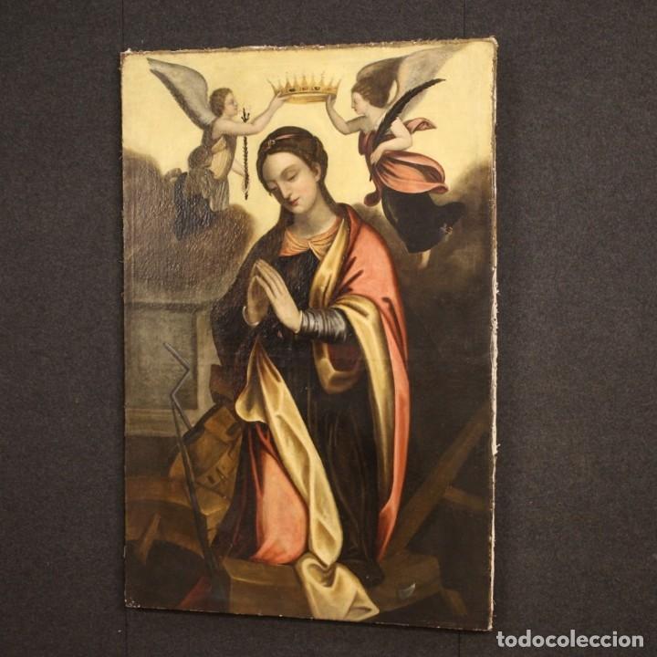 Arte: Pintura religiosa italiana antigua Santa Catalina del siglo XVIII - Foto 7 - 177484392