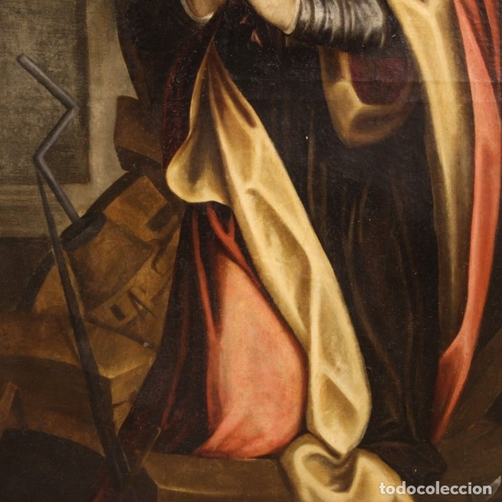Arte: Pintura religiosa italiana antigua Santa Catalina del siglo XVIII - Foto 8 - 177484392