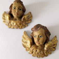 Arte: ANTIGUA PAREJA ÁNGELES ALADOS PAN DE ORO QUERUBINES ANGELOTES. Lote 177569008