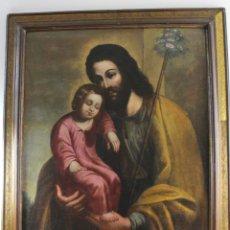 Arte: A-278. OLEO SOBRE LIENZO, SAN JOSE CON EL NIÑO. S.XVIII.. Lote 177581647