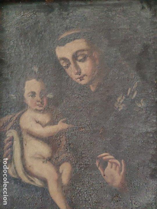 Arte: ÓLEO SOBRE LIENZO SAN ANTONIO SIGLO XVIII - 1000-075 - Foto 3 - 43145475